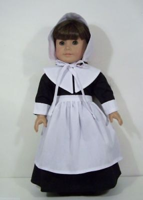 "Doll Clothes 18"" Colonial Pilgrim Dress Black White Fits American Girl Dolls"