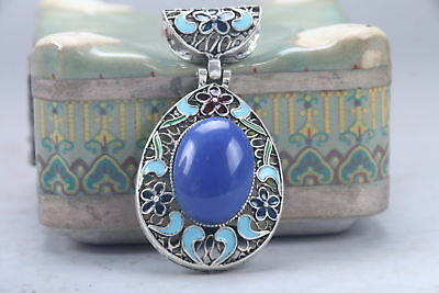 Old Decorated Handwork Miao Silver Carving Flower Inlay Zircon Pendant aa922