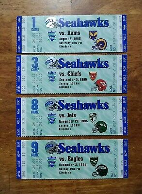 Lot of (4) 1995 Full Unused Seattle Seahawks Tickets Joey Galloway NFL debut