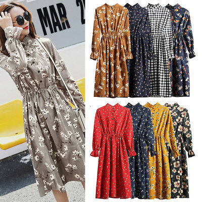 Autumn Winter Women Floral Flared Long Sleeve Casual Party Boho Maxi Dress R1T3