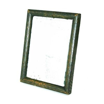 Antique Wooden Frame Beveled Shaving Barbers Travel Mirror Campaign Mirror