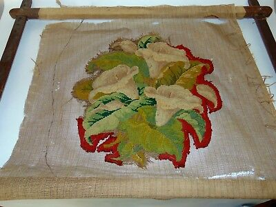 ANTIQUE NEEDLEPOINT In PRIMITIVE WOODEN FRAME Unfinished LILIES