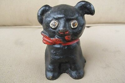 "Antique 1914 Hubley ""Cutie"" Cast Iron Bank Black Dog w Red Bow"