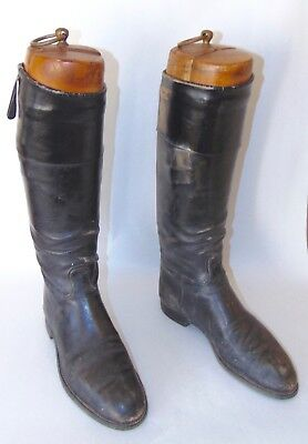 ANTIQUE LEATHER Riding Boots BLACK With WOODEN TREES Hand Sewn!