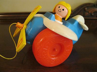 Vintage 1980 Fisher Price Plane Pull Along Toy #171