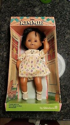 Vtg Shindana Baby Kimmie Doll African American Black 1970s 1975 w box rare