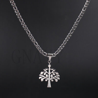 Christmas tree charm pendant 18K IP Gold Plated / silver figaro link necklace
