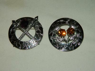 Lot Of 2 Vintage Mizpah Scottish Celtic Silver Tone Brooches - Pins