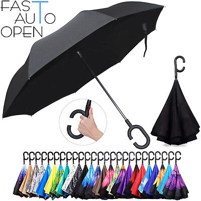Sun/rain Umbrella Double Layer Upside Down C-Handle Inverted Reverse Brella Pear