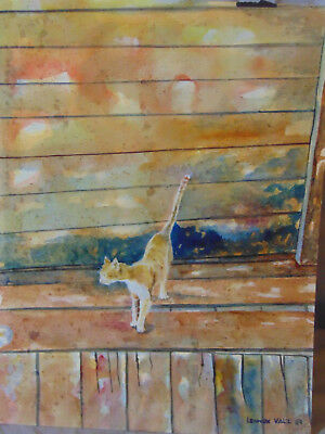 Vintage Small Cat on Wooden Planks Watercolor Painting Lennox Valz 1989