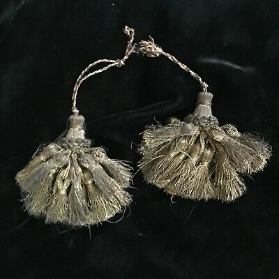 Antique French Metallic Tassels Pair 2 Gold Bronze Patina Authentic Set