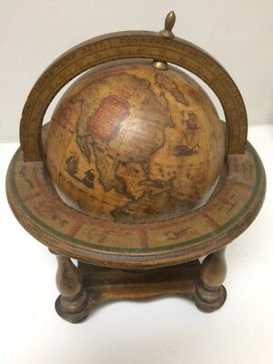 Vintage Old World Wooden Zodiak Globe--Italian Horoscope