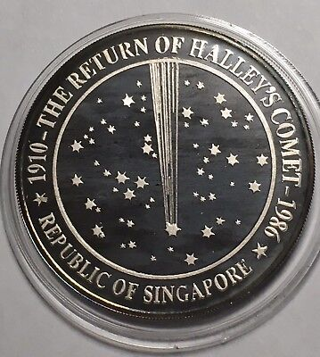 1986 Singapore Ounce 1 oz Proof Silver Lion - Return of Halley's Comet