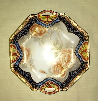Antique Hand Painted Nippon Octagonal Dish/Tray - Peonies - circa 1891 -1921