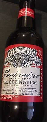"2000 BUDWEISER MILLENNIUM GIANT 14 1/2"" TALL GLASS BOTTLE BANK with CAP"