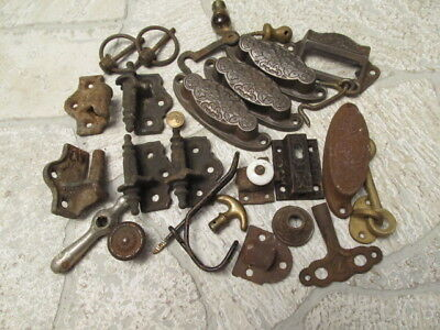 Vintage Estate Sale Hardware, Hinges, Hooks Junk Drawer Lot 011