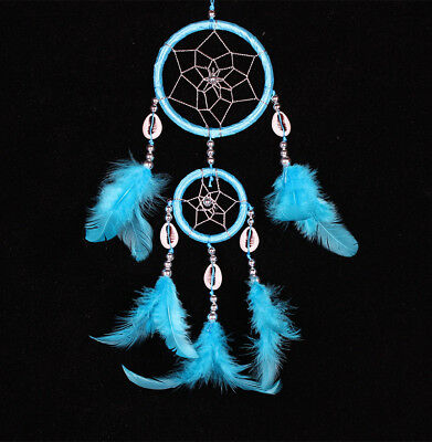 Dream Catcher with Feather Wall Car Hanging Decoration Ornament Handmade Blue