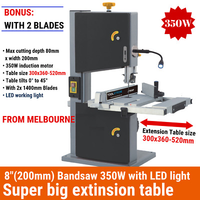 "200mm 8"" Band saw Wood Timber Cutting Table Drill Press 350W LED light 2 Blades"