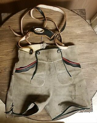 Vintage 1960'S Leather Suede German Lederhosen Childs Shorts With Suspenders
