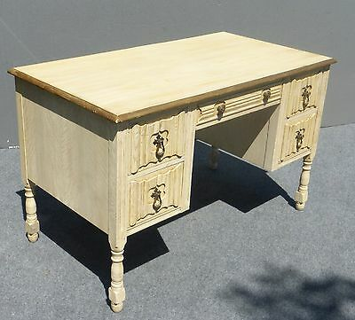 Vintage French Provincial Five Drawer Writing Desk Off White & Gold Gilt