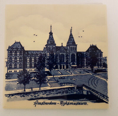 "Delft Blue 6"" Tile Depicting Amsterdam Rijksmuseum Scene. Superb Condition."