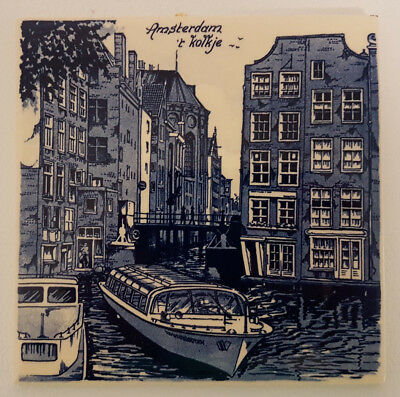 "Delft Blue 6"" Tile Depicting Amsterdam Kolkje Scene. Superb Condition."