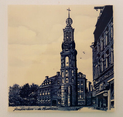 "Delft Blue 6"" Tile Depicting Amsterdam de Munttoren Scene. Superb Condition."