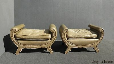 Pair Vintage Rustic Green Leather Benches Century Duke of York Decorative Nails