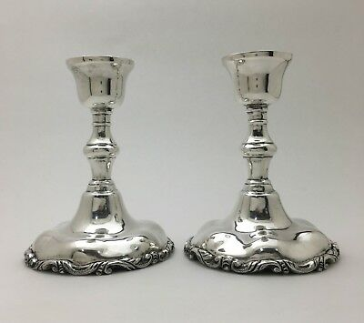"""Beautiful Pair Of Mexican Sterling Silver Candlesticks Candleholders 5.75"""" 503Gr"""