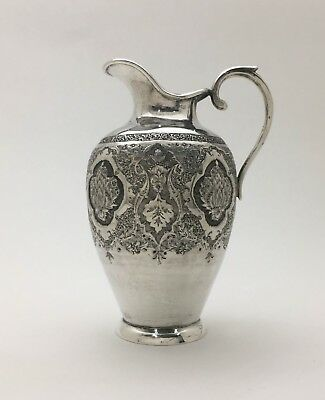 A Very Fine Isfahan Persian Hand Chased 84 Silver Creamer Pitcher Jug