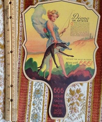 Vintage DECO Diana The Huntress + Whippet Greyhound Dog As 666 Cold Liquid Fan!