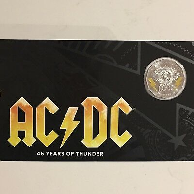 2018 AC/DC 50c Coloured Uncirculated Coin Carded - 45 Years of Thunder