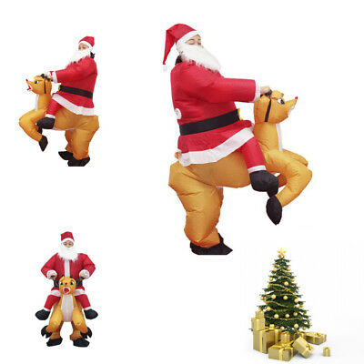 127040ff51f Inflatable Christmas Santa Father Jumpsuit Adult Blow Up Costume Xmas Suit  UK