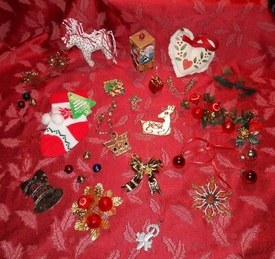 Lot of 30 Vintage Christmas Ornaments and Decor