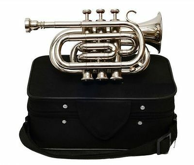 High Grade Silver-Nickel Plated Pocket Trumpet Large bell Bb Horn With/Case +.mp