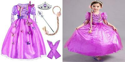 Long Hair Rapunzel Princess Costume For Girls Party Dress Up With Braid...