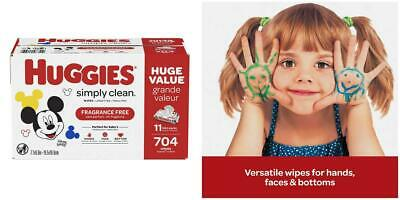 HUGGIES Simply Clean Fragrance-free Baby Wipes, Soft Pack (9-Pack, 576...