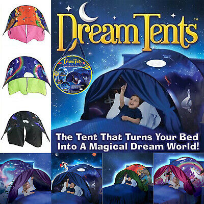 UK Kids Deluxe Dream Bed Tents Foldable Pop-up Indoor Playhouse Birthday Gift