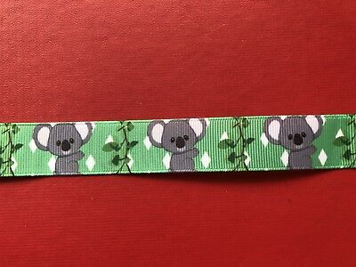 KOALA GUM LEAVES Grosgrain Ribbon 22mm X 1MTR Australian Seller