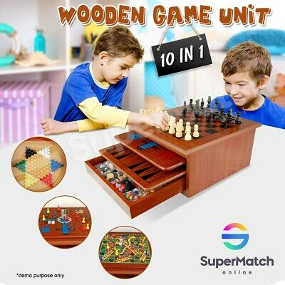 10in1 Wooden Board Games House Kids Toy Chess Backgammon Checkers Snakes Ladders