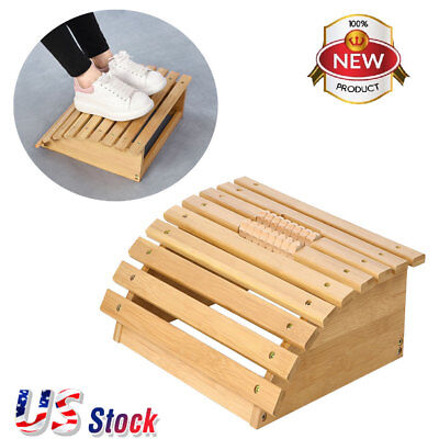 Bamboo Footrest  Elevated Foot Stool Foot Rest with Massager Rollers Office Home