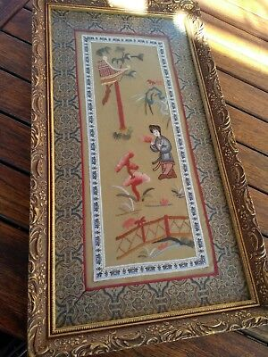 Vintage Oriental Silk Embroidery framed 46.5 x 25.5