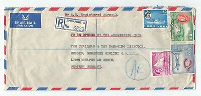 SINGAPORE MALAYA 1960 REGISTERED AR  HV COVER to Germany