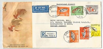 SINGAPORE MALAYA 1962 FISHES REGISTERED FD COVER to Germany