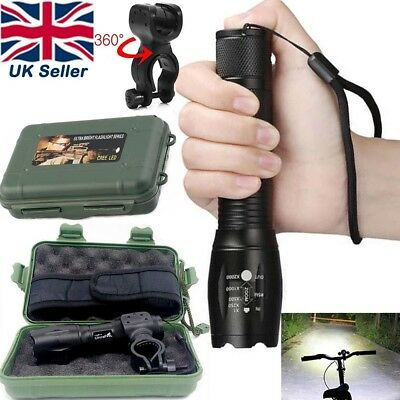 Tactical Light 50000LM Power T6 LED Camping Flashlight Torch+Case+Bike Clip Set