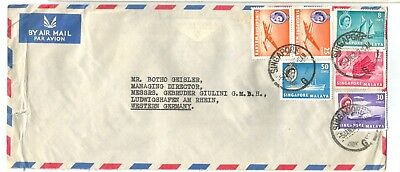SINGAPORE MALAYA 1962 AIRMAIL COVER TO GERMANY        Nice franking!