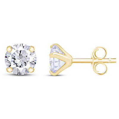 2ct Round Created Diamond Earrings 14K Solid Yellow Gold Solitaire Studs