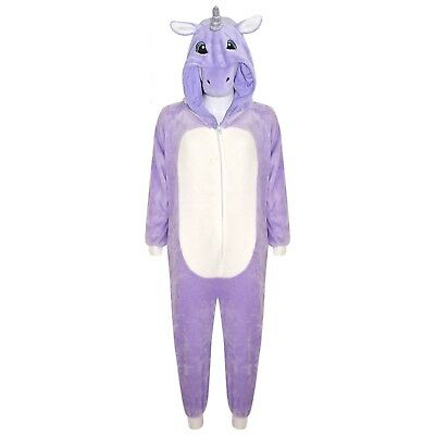 Kids Girls 3D Unicorn A2Z Onesie One Piece Purple Hooded Soft Fluffy Xmas Gifts