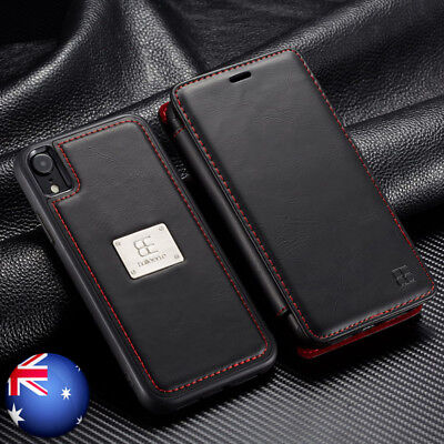 For iPhone XS Max XR X Leather Detachable Wallet Magnetic Flip Card Case Cover