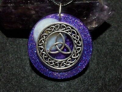Triquetra Moon Pendant,Celtic Knot,Wiccan,Power of 3,Holographic Glitter,Pagan